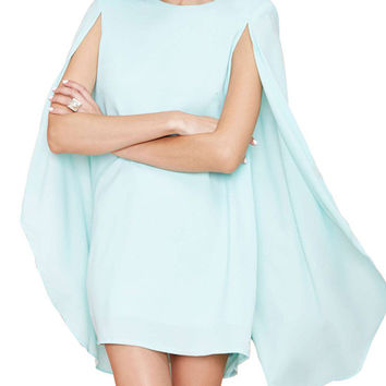 Shoulder Pad Bat-wing Sleeves Dovetail Mini Dress