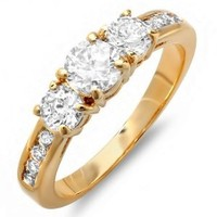 1.50 CT 18K Yellow Gold Plated Ladies Round Cubic Zirconia CZ Wedding Bridal Engagement Ring (Available in size 6, 7, 8)
