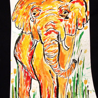 Elephant Painting, Poster, Modern Wall Art for Home Decor, Dorm Room