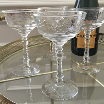 Champagne Coupes, Libbey Rock Sharpe, Normandy Champagne, Tall Cut Crystal, 40s Barware, Wedding Glassware, Crystal Champagne, Elegant Bar