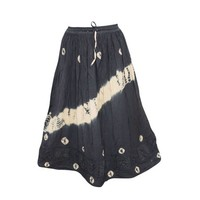 Mogul Women's Indian Peasant Skirt Embroidered Black Rayon Skirts - Walmart.com