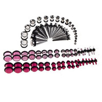 Taper Kit 14G-00G, 36 Pieces Stainless Steel Tunnels and 36 Pieces Pink Acrylic Tapers - 72 Pieces