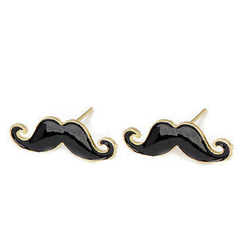 New Black MUSTACHE STUDS Moustache Emo Funky by revampdcouture