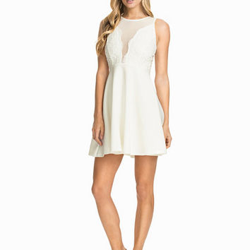 Crochet Detailed Cross Back Skater Dress, Club L