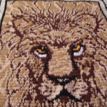 Sale Additional 33% Off Crochet  Afghan Lion  Anne Klein Inspired Blanket Bed Throw Big Hunter Jungle Cat  Heirloom Quality Ready To Ship