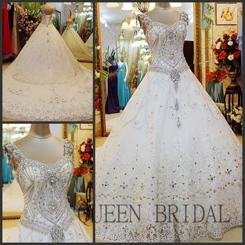 Off the Shoulder Lace Applique Hand Beaded Crystals Wedding Dress