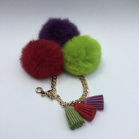 Trio rabbit fur pom pom corsage Bag Charm Totem