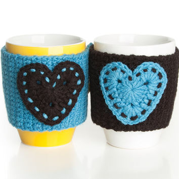 Crochet mug cozy warmer, Mug warmer, hearts, cup cozy,  tea cozy, Turquoise and Black , Set of 2, Available in two sizes