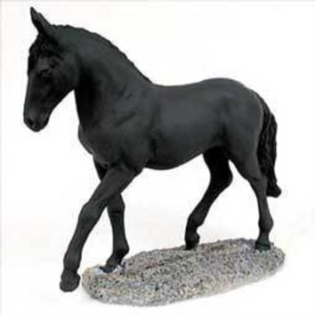 BLACK HORSE WALKING & TROTTING FIGURINE