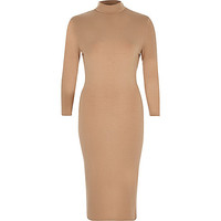 Camel turtle neck bodycon dress - bodycon dresses - dresses - women