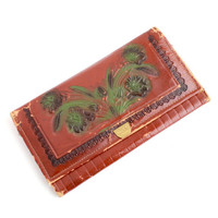 Vintage Tooled Leather Clutch -  Rustic 1940s Brown Leather Floral Bag / Large Flower Wallet