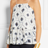 Tibi | Ruffled printed cotton and silk-blend top | NET-A-PORTER.COM