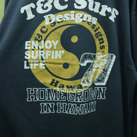 Vintage 90s T & C Surf Designs Sweatshirt Hawaii Surf Surfing Crewneck Pullover Sweater Size 5L
