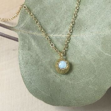 Solid 14K Yellow Gold Opal Necklace