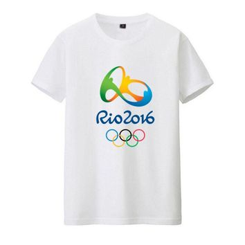 Rio 2016 Olympic Games Round Neck T-Shirt Commemorative Tees-XXL White