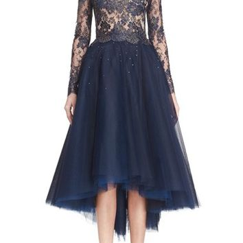 Reem Acra Chantilly Lace & Embellished Tulle High/Low Dress | Nordstrom
