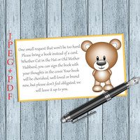 Bring a Book Instead of a Card Bear Baby Shower Invitation Inserts (V3-4t) Instant DOWNLOAD