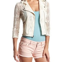 Sheer Crochet Motorcycle Jacket: Charlotte Russe