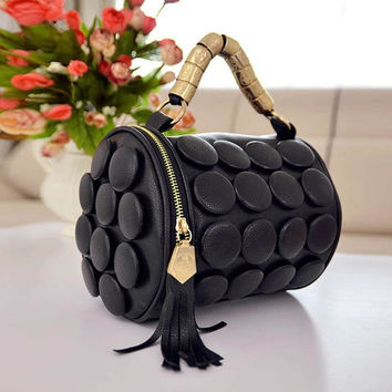 Synthetic Leather Color Buttons Bucket-shaped Handbag Shoulder Bag New Style DN0 7_S