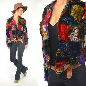 velvet BOHEMIAN RHAPSODY cropped PATCHWORK grunge revival jacket,  extra small-small