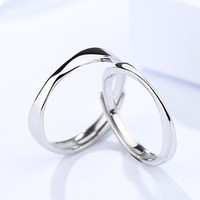 1pair pure 925 Sterling Silver Open Rings For Women Men Adjustable couple rings for lovers bague femme couple rings engament
