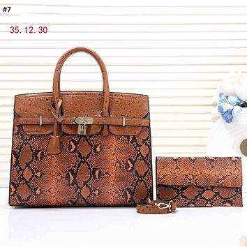 Hermes Tide brand female snake pattern fashion high-grade simple tote bag mother bag two-piece #7