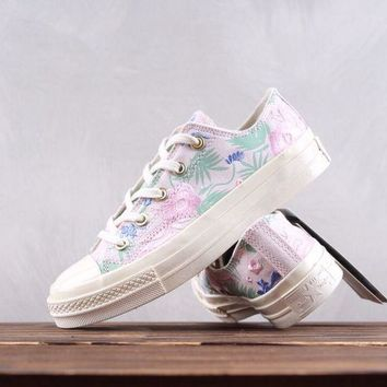 AUGUAU Convese All Star Chuck Taylor Flower Embroidery Classic Low Skate Shoes White