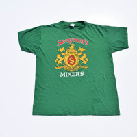 Vintage T-shirt 70s 80s Seagram's Mixers College Party Shirt Green