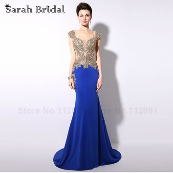 Luxury Royal Blue Mermaid Formal Evening Dresses Sexy Illusion Back Crystal Embroidery Long Party Gowns  Longo