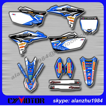 FREE SHIPPING YZ250F 2010 2011 2012 2013 RACING 3M GRAPHICS BLUE BACKGROUND DECALS STICKERS KITS OFF ROAD MOTORCYCLE DIRT BIKE