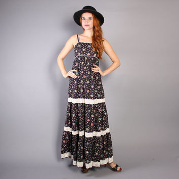 70s Lanz FLORAL Sun DRESS / Black Calico Cotton Crochet Trim Maxi, xs