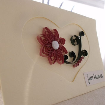 handmade paper quilled all occasion or friendship greeting card - heart  motif,  just because