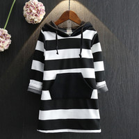 Striped Children Clothing Winter Autumn New Long Sleeve Girls Dresses Cotton Hooded Girls Clothes Toddlers Kids Dresses