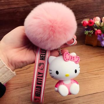 New Cute Ribbon Hello Kitty Key Chains Charms Cat Keychains Rabbit Fur Pom Pom Keychain Llavero Pompon Key Chain Car Porte Clef