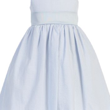 Light Blue Cotton Seersucker Dress w PolySilk Sash (Baby 6 months - Girls Size 12)