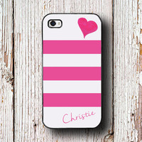 Cute Iphone 6 case - Pretty Iphone 4s case - Pink iPhone 5c case - Girls Samsung S5 case Galaxy S4 case - Pink stripe heart your name (1327)