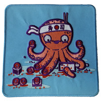 """Octosushi"" Funny Japanese Octopus Chef Cutting Tentacles - Novelty Iron On Patch Applique  HS P - RO - 0023"