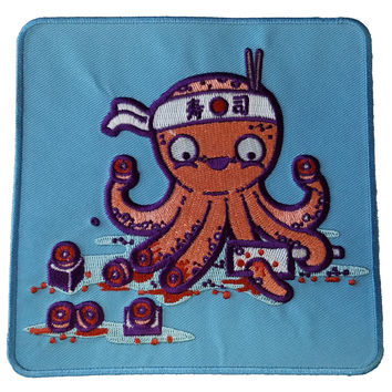 """""""Octosushi"""" Funny Japanese Octopus Chef Cutting Tentacles - Novelty Iron On Patch Applique  HS P - RO - 0023"""