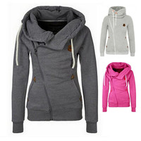 7 Colors Women's Sports Personality Side Zipper Hooded Cardigan Sweater Jacket S/M/L/XL/XXL _ 9292