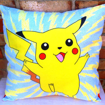Pokemon Pikachu Selection Vintage Fabric Cushion - Handmade by Alien Couture