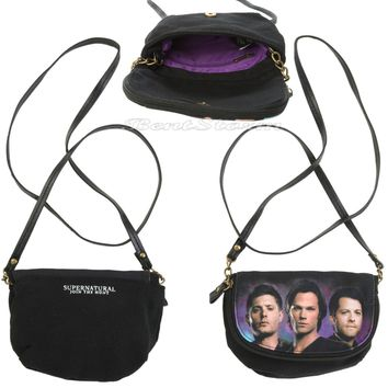 Licensed cool CW SUPERNATURAL TRIO SAM DEAN CASTIEL ANGEL Crossbody Bag Tote Purse Handbag NWT