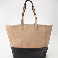 Faux Leather Colorblocked Tote