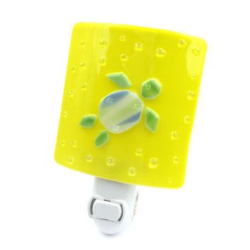 Night Light, Green & Blue Sea Turtle on Yellow Stained Glass, Wall Plugin