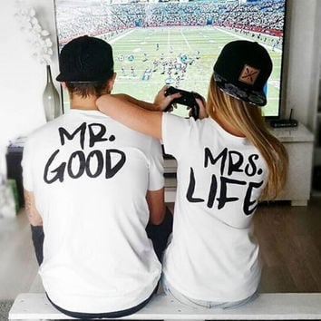 Women Men MR GOOD and MRS LIFE T-Shirts Summer Top Lover Tee +Free Gift -Random Necklace -89