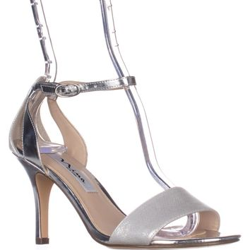 Nina Venetia Ankle Strap Dress Sandals, Silver Star, 7.5 US