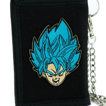 Dragon Ball Z Goku Super Saiyan Blue Tri-fold Wallet Dark Alternative Anime Clothing