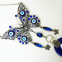 Butterfly Wall Hanging Amulet Handmade Turkish Silver Plated Evil Eye Bead