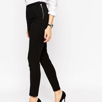 ASOS High Waist Pants in Twill with Zips at asos.com