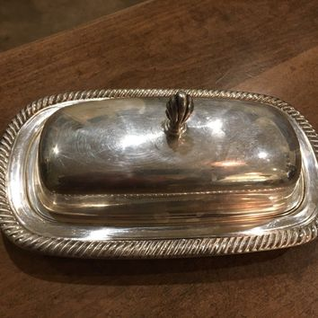 Vintage Butter Dish with Glass Insert WM Rogers 887 Star Eagle Silverplate EUC