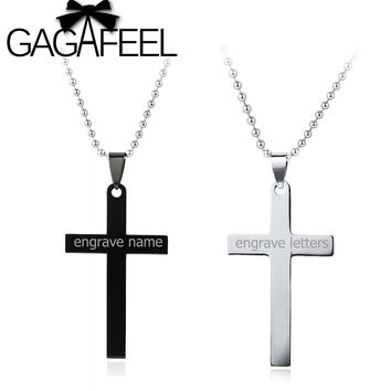 GAGAFEEL Personalized Engraved Name Stainless Steel Cross Pendant Necklaces Black Silver Colors Lover's Jewelry Best Gift